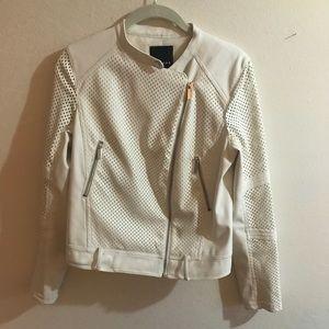 White Leather Trouve Jacket
